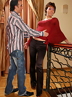 Dazzling sissy in a lush female blouse and pants gets pantyhose gay anal