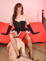 A fetish loving TGirl in a very short skirt is ready to play.