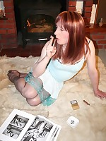 Tgirl Lucimay at home playing with herself