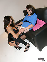Nylon Jane licks and bites a slutty crossdresser