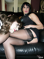 Slutty crossdressing maid gets spanked by sexy Nylon Jane