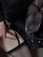 This TGirl is so happy because she gets to feel Janes sexy nylons