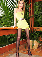 Heated tranny wanking off her stiff stick with her control top pantyhose